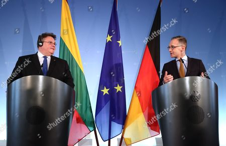 Minister of Foreign Affairs of Lithuania Linas Antanas Linkevicius (L) and Minister of Foreign Affairs Heiko Maas speak during a joint press conference at the German Federal Foreign Office in Berlin, Germany, 22 October 2019. Lithuanian Foreign Minister Linkevicius met the German counterpart in the German capital and had a conversation on bilateral issues.