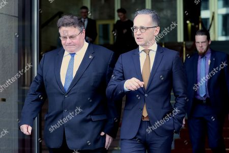 Minister of Foreign Affairs of Lithuania Linas Antanas Linkevicius (L) and Minister of Foreign Affairs Heiko Maas talk after a joint press conference at the German Federal Foreign Office in Berlin, Germany, 22 October 2019. Lithuanian Foreign Minister Linkevicius met the German counterpart in the German capital and had a conversation on bilateral issues.