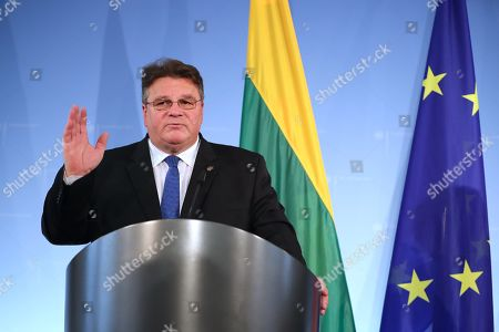 Minister of Foreign Affairs of Lithuania Linas Antanas Linkevicius speaks during a joint press conference with Minister of Foreign Affairs Heiko Maas at the German Federal Foreign Office in Berlin, Germany, 22 October 2019. Lithuanian Foreign Minister Linkevicius met the German counterpart in the German capital and had a conversation on bilateral issues.