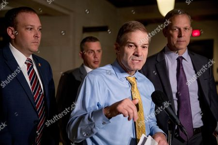 Kelly Armstrong, Lee Zeldin, Jim Jordan, Scott Perry. Republican lawmakers, from left, Rep. Lee Zeldin R-N.Y., Rep. Kelly Armstrong R-N.D., Rep. Jim Jordan, R-Ohio, ranking member of the Committee on Oversight Reform, and Rep. Scott Perry, R-Pa., speak to members of the media before former U.S. Ambassador William Taylor arrives for a closed door meeting to testify as part of the House impeachment inquiry into President Donald Trump, on Capitol Hill in Washington