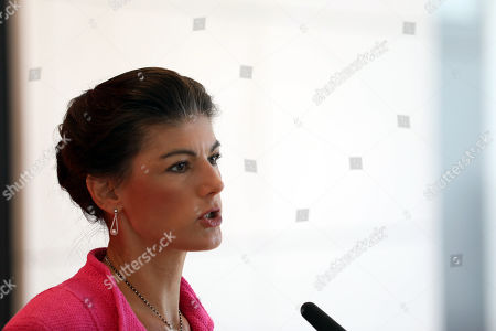 The co-leader of The Left (Die Linke) party faction Sahra Wagenknecht gives a press statement ahead of the parliamentary group meeting in the German Bundestag in Berlin, Germany, 22 October 2019. Members of the The Left faction meet during the parliamentary week.