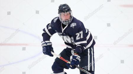 New Hampshire's Matt Dawson (27) during an NCAA hockey game against Bentley on in Waltham Mass