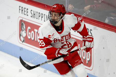 Boston University's Ethan Phillips during an NCAA hockey game against Northern Michigan on in Boston