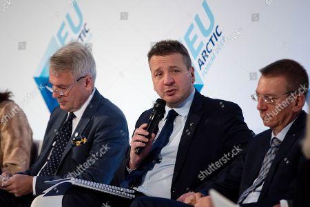 Foreign Minister of Iceland Gudlaugur Tho´r Tho´rdarson speaks while Foreign Minister of Finland Pekka Haavisto (L) and Foreign Minister of Latvia Edgars Rinkevics (R) listen