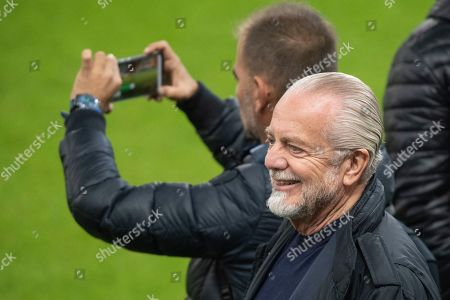 Stock Photo of Napoli's president Aurelio De Laurentiis during a training session on the day before the UEFA Champions League group E match between FC Salzburg and SSC Napoli in Salzburg, Austria, 22 October 2019.