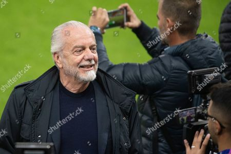Napoli's president Aurelio De Laurentiis during a training session on the day before the UEFA Champions League group E match between FC Salzburg and SSC Napoli in Salzburg, Austria, 22 October 2019.