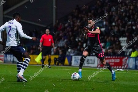 Leeds United midfielder Jack Harrison (22) during the EFL Sky Bet Championship match between Preston North End and Leeds United at Deepdale, Preston