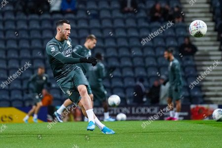 Leeds United midfielder Jack Harrison (22) warming up during the EFL Sky Bet Championship match between Preston North End and Leeds United at Deepdale, Preston