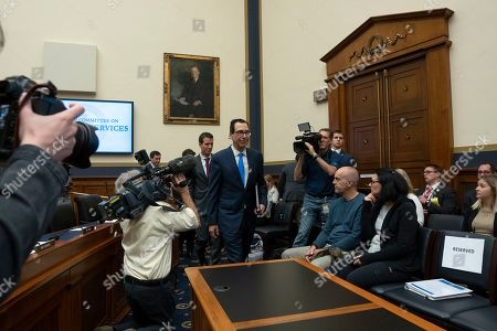 United States Secretary of the Treasury Steven Mnuchin arrives to testify before the U.S. House Committee on Financial Services on Capitol Hill