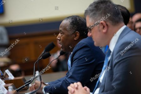 United States Secretary of the Treasury Steven Mnuchin, United States Secretary of Housing and Urban Development (HUD) Ben Carson, and Director of the Federal Housing Finance Agency Mark Calabria testify before the U.S. House Committee on Financial Services on Capitol Hill