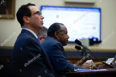 United States Secretary of the Treasury Steven Mnuchin and United States Secretary of Housing and Urban Development (HUD) Ben Carson testify before the U.S. House Committee on Financial Services on Capitol Hill