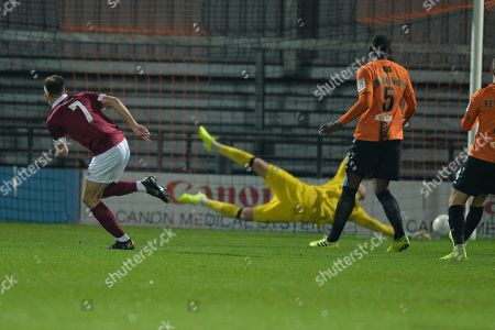 Ben Ward-Cochrane of Potters Bar Town  scores the first Goal and celebrates during Barnet vs Potters Bar Town, Emirates FA Cup Replay Football at the Hive Stadium on 22nd October 2019