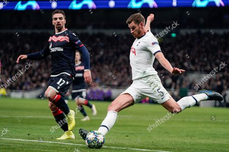 Red Star's Tomane (L) and Tottenham's Jan Vertonghen (R) in action during the UEFA Champions League group B soccer match between Tottenham Hotspurs and Red Star Belgrade at the Tottenham Hotspur Stadium in London, Britain, 22 October 2019.