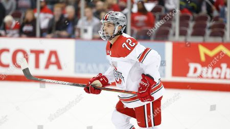 Ohio State's Carson Meyer plays against Omaha during an NCAA hockey game in Columbus, Ohio