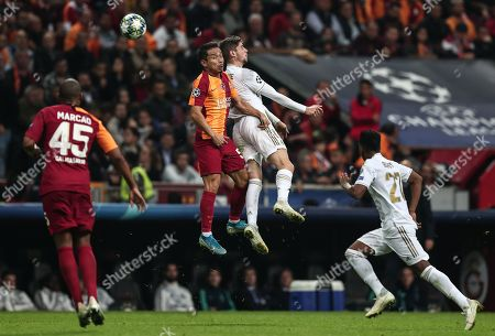Real Madrid's Valverde (R) in action against Galatasaray's Yuto Nagatomo (L) the UEFA Champions League group A match between Galatasaray and Real Madrid in Istanbul, Turkey, 22 October 2019.