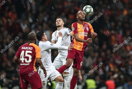 Stock Picture of Real Madrid's Luka Jovic (C) in action against Galatasaray's Steven Nzonzi (R) during the UEFA Champions League group A match between Galatasaray and Real Madrid in Istanbul, Turkey, 22 October 2019.