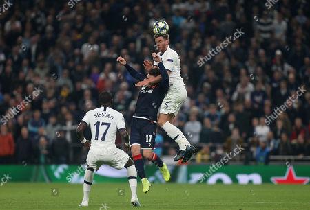 Tomane of Red Star Belgrade and Jan Vertonghen of Tottenham Hotspur during Tottenham Hotspur vs Red Star Belgrade, UEFA Champions League Football at Tottenham Hotspur Stadium on 22nd October 2019