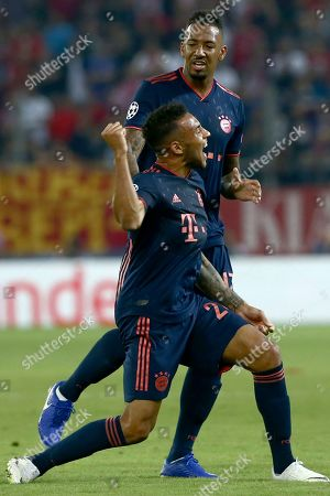 Bayern's Corentin Tolisso celebrates his goal during the Champions League group B soccer match between Olympiakos and Bayern Munich at the Georgios Karaiskakis stadium in Piraeus port, near Athens