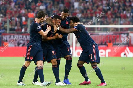 Bayern's players celebrate the third goal by Corentin Tolisso (C) during the UEFA Champions League group B soccer match between Olympiacos F.C. and F.C.Bayern Munich at Karaiskaki stadium in Piraeus, Greece, 22 October 2019.