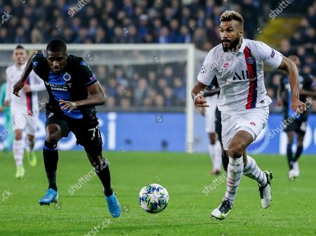 Clinton Mata of Club Brugge (L) and Eric Maxim Choupo-Moting of Paris Saint-Germain in action during the UEFA Champions League group A match between Club Brugge and Paris Saint-Germain in Brugge, Belgium, 22 October 2019.