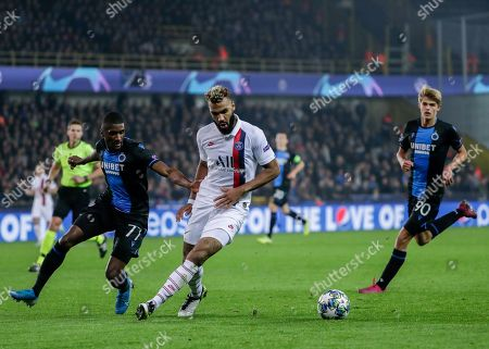 Clinton Mata of Club Brugge (L), Eric Maxim Choupo-Moting of Paris Saint-Germain and Charles De Ketelaere of Club Brugge in action during the UEFA Champions League group A match between Club Brugge and Paris Saint-Germain in Brugge, Belgium, 22 October 2019.