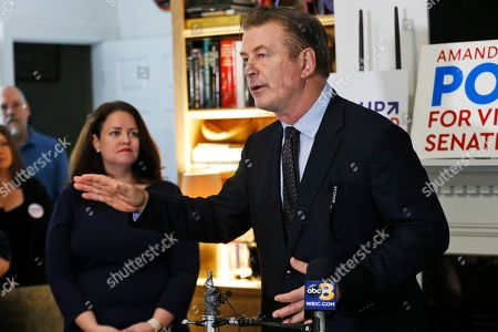 Stock Image of Alec Baldwin, Amanda Pohl. Actor Alec Baldwin, right, speaks to supporters of Amanda Pohl, left, candidate for Virginia Senate District 11 in her neighborhood in Midlothian, Va., . Baldwin campaigned for several candidates around the state