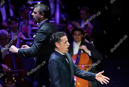 Stock Image of Peruvian operatic tenor Juan Diego Florez performs during his concert at the Erkel Theatre in Budapest, Hungary, 22 October 2019. Florez performed with the Hungarian State Opera Orchestra, conducted by Jader Bignamini of Italy.