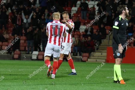 Luke Varney celebrates the opening goal  during the EFL Sky Bet League 2 match between Cheltenham Town and Macclesfield Town at Jonny Rocks Stadium, Cheltenham