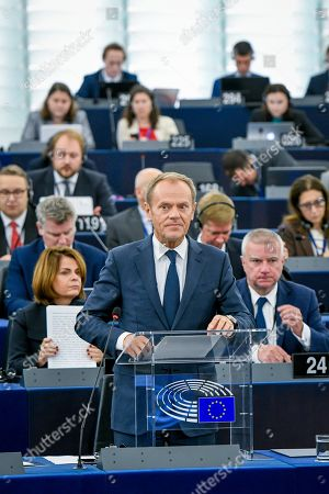 Editorial picture of European Council and Commission Statements plenary session, Strasbourg, France - 22 Oct 2019