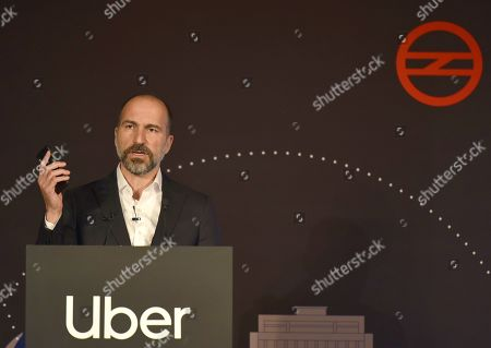 Uber CEO Dara Khosrowshahi speaks during the launch of Uber's new public transport feature in partnership with Delhi Metro Rail Corporation.