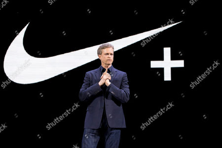 Stock Picture of Nike CEO Mark Parker speaks during a news conference in New York. Parker is stepping down early next year. He will be replaced by board member John Donahoe, who formerly ran e-commerce company eBay
