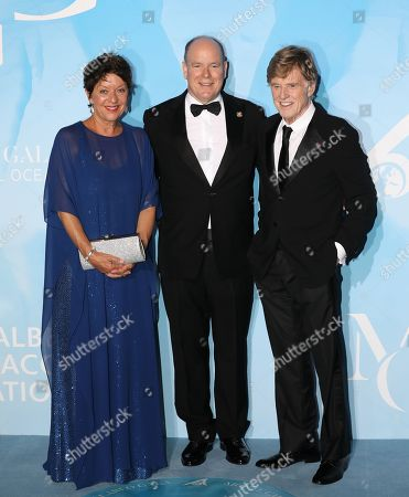 Stock Image of Sibylle Szaggars, Prince Albert II and Robert Redford