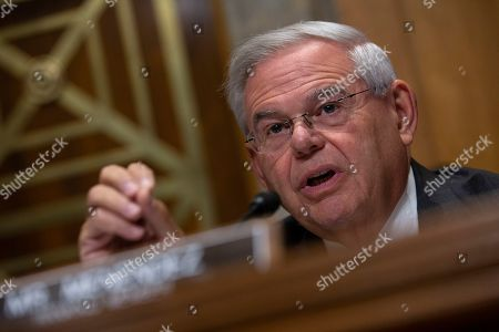 United States Senator Bob Menendez (Democrat of New Jersey) speaks during the U.S. Senate Committee on Foreign Relations.