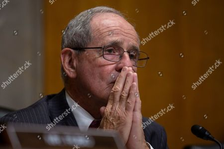 United States Senator Jim Risch (Republican of Idaho) listens to Special Representative for Syria Engagement and Special Envoy to the Global Coalition to Defeat ISIS James Jeffrey and Deputy Assistant Secretary, Bureau of European and Eurasian Affairs Matthew A. Palmer testify before the U.S. Senate Committee on Foreign Relations.