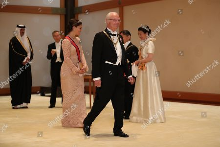 Crown Princess Victoria (L) of Sweden and her father King Carl Gustaf with Emperor Naruhito and Empress Masako