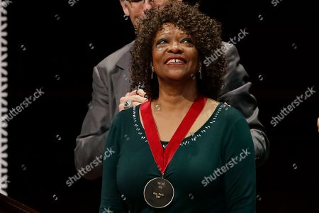 Poet Rita Dove receives the W.E.B. Dubois Medal for her contributions to black history and culture during ceremonies at Harvard University, in Cambridge, Mass