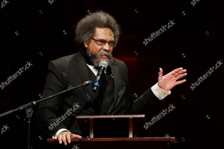 Stock Photo of Harvard Professor Cornel West speaks during ceremonies on campus where W.E.B. Dubois Medals were awarded for contributions to black history and culture, in Cambridge, Mass