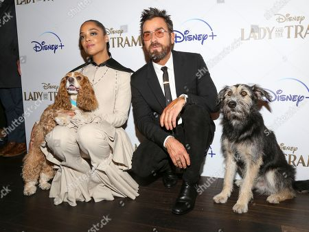 """Tessa Thompson, Justin Theroux. Tessa Thompson, left, and Justin Theroux, right, attend a special screening of """"Lady and the Tramp"""", hosted by Disney+ and The Cinema Society, at iPic Theater, in New York"""