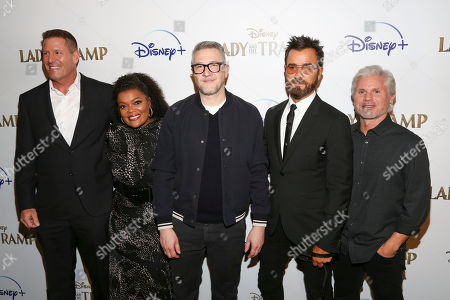 """Kevin A. Mayer, Yvette Nicole Brown, Charlie Bean, Justin Theroux, Brigham Taylor. Kevin A. Mayer, from left, Yvette Nicole Brown, Charlie Bean, Justin Theroux and Brigham Taylor attend a special screening of """"Lady and the Tramp"""", hosted by Disney+ and The Cinema Society, at iPic Theater, in New York"""