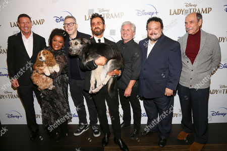 """Stock Photo of Kevin A. Mayer, Yvette Nicole Brown, Charlie Bean, Justin Theroux, Brigham Taylor, Adrian Martinez, F. Murray Abraham. Kevin A. Mayer, from left, Yvette Nicole Brown, Charlie Bean, Justin Theroux, Brigham Taylor, Adrian Martinez and F. Murray Abraham attend a special screening of """"Lady and the Tramp"""", hosted by Disney+ and The Cinema Society, at iPic Theater, in New York"""
