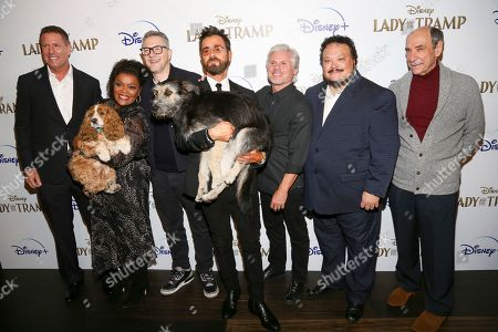 """Stock Picture of Kevin A. Mayer, Yvette Nicole Brown, Charlie Bean, Justin Theroux, Brigham Taylor, Adrian Martinez, F. Murray Abraham. Kevin A. Mayer, from left, Yvette Nicole Brown, Charlie Bean, Justin Theroux, Brigham Taylor, Adrian Martinez and F. Murray Abraham attend a special screening of """"Lady and the Tramp"""", hosted by Disney+ and The Cinema Society, at iPic Theater, in New York"""