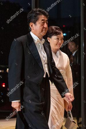 Stock Image of Japanese Prime Minister Shinzo Abe and Akie Abe