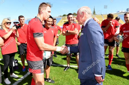 Stock Photo of Prince Charles meets Liam Williams during Wales training.