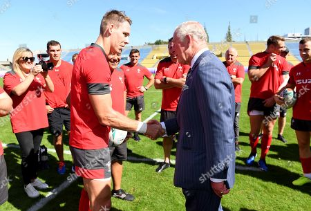 Prince Charles meets Liam Williams during Wales training.