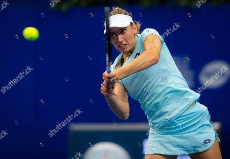 Elise Mertens of Belgium in action during her RR2 match at the 2019 WTA Elite Trophy tennis tournament
