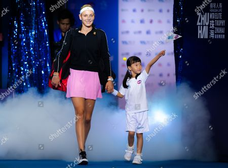 Donna Vekic of Croatia on her way onto the court for her RR2 match at the 2019 WTA Elite Trophy tennis tournament