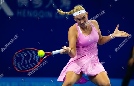 Stock Image of Donna Vekic of Croatia in action during her RR2 match at the 2019 WTA Elite Trophy tennis tournament