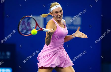 Stock Photo of Donna Vekic of Croatia in action during her RR2 match at the 2019 WTA Elite Trophy tennis tournament