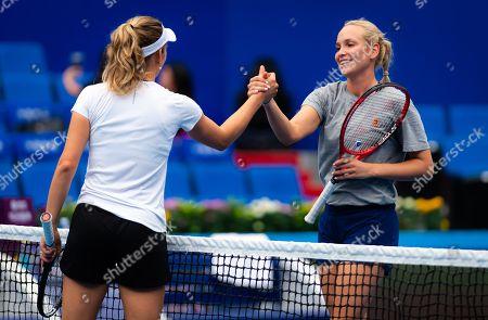 Elise Mertens of Belgium & Donna Vekic of Croatia during practice at the 2019 WTA Elite Trophy tennis tournament