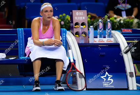 Donna Vekic of Croatia in action during her RR2 match at the 2019 WTA Elite Trophy tennis tournament